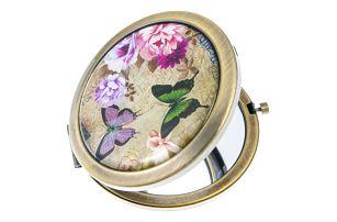 Fashion Icon Kapesní kulaté zrcátko Motýl a květiny kovové