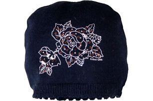 BOBOLI Zimní čepice dívčí kytky, vel. S/50 - modrá, holka