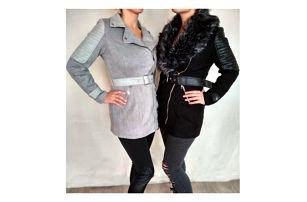 Dámský kabát s kožešinovým límcem Sonia