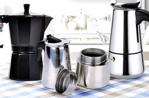 Moka konvičky pro přípravu silné lahodné kávy