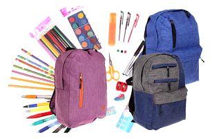 Batoh pro děti v 6 barvách s náplní školních potřeb