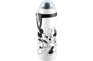 NUK First Choice Láhev PP Sports Cup, Disney Mickey 450 ml, silikon push-pull pítko (36+ m)– bílá