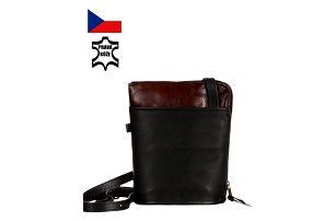 Malá kožená kabelka přes rameno - Česká výroba černá/hnědá