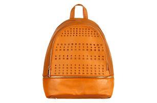 Koženkový batoh s perforováním hnědá