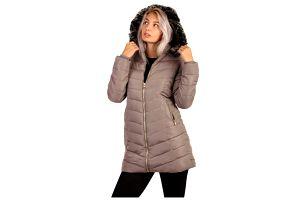 Dámská bunda s kožíškem- i pro plnoštíhlé hnědá