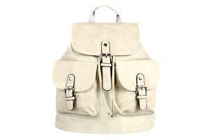 Koženkový batoh s kapsami šedá