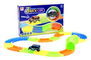 Svítící autodráha Track Car - 128 dílů tunel