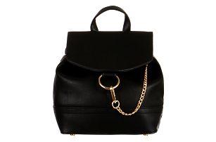 Malý koženkový batůžek s řetízkem černá