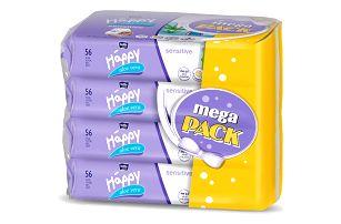 4x BELLA HAPPY BABY Vlhčené ubrousky sensitive s aloe vera 56 ks, MEGA PACK