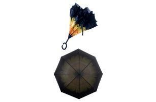 Obrácený holový deštník s dvojitým potahem Žlutá gerbera