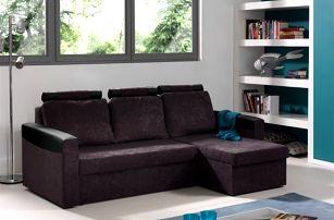 Rohová sedačka rozkládací Dimi univerzální (mf grey/pvc black)