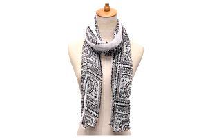 Dlouhý vintage šátek s geometrickými tvary - dodání do 2 dnů
