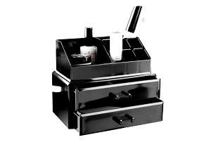 Černý organizér na kosmetiku se dvěma šuplíky Compactor