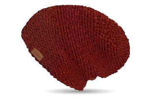 Vínově červená ručně pletená čepice DOKE Marsala