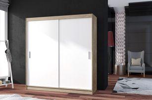 POP 2 - Skříň 180x215x60 cm, posuvné dveře (bílá/dub sonoma)