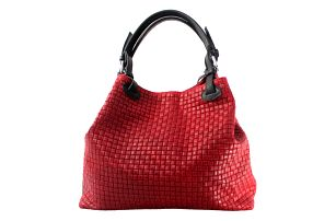 Červená kožená kabelka Chicca Borse Tessa - doprava zdarma!