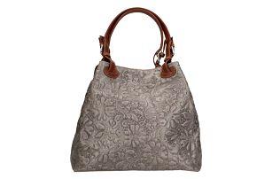 Šedobéžová kožená kabelka Chicca Borse Origono - doprava zdarma!