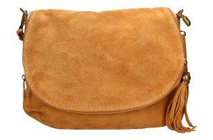 Světle hnědá kožená kabelka Chicca Borse Nela