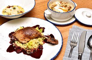 5chodové menu s kachnou či flank steakem pro 2