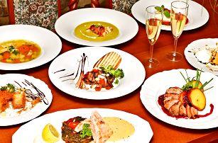 Čtyřchodové menu s kachnou či lososem a Prosecco