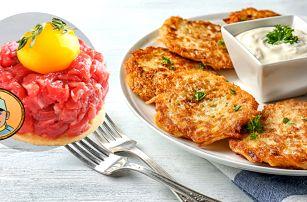 Tatarák nebo domácí bramboráčky U Švejka ve Strašnicích