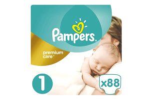 PAMPERS Premium Care 1 NEWBORN 2-5 kg 88 kusů + Dárek PAMPERS Vlhčené ubrousky Sensitive 56 kusů ZDARMA