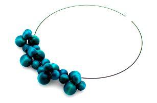 Tyrkysový dřevěný náhrdelník Ko–ra–le Bubbles