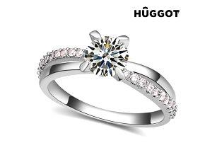 Prsten potažený rhodiem se zirkony You + Me Hûggot