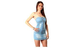 Džínové mini šaty bez ramínek modrá