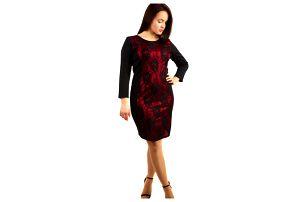 Společenské šaty s krajkou - pro plnoštíhlé červená