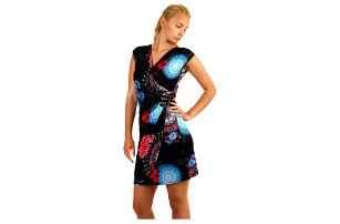 Zavinovací šaty s orientálním vzorem - i pro plnoštíhlé černá
