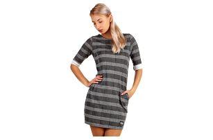 Kostkované úpletové šaty s 3/4 rukávem šedá