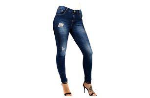 Dámské džíny s potrhaným efektem -vysoký pas tmavě modrá