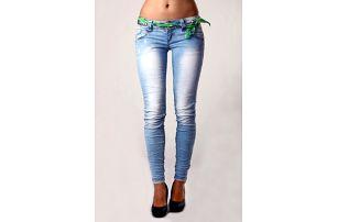 Dámské skinny džíny s páskem světle modrá