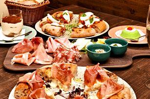 Tříchodové italské menu pro 2: pizza Gourmet