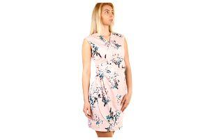 Dámské květované šaty - zavinovací efekt starorůžová