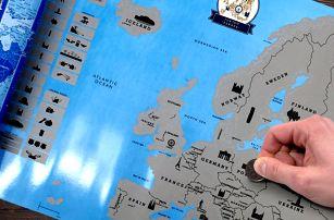Stírací mapa Evropy pro vášnivé cestovatele