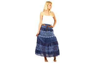 Dámská maxi sukně s krajkou modrá