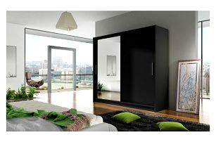 Velká šatní skříň BEGA VI černá šířka 180 cm
