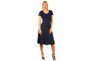 Dámské retro šaty s puntíky tmavě modrá