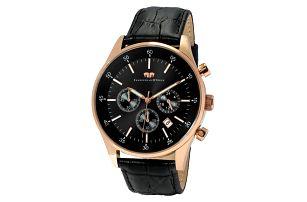 Černé pánské hodinky s ciferníkem růžovo-zlaté barvy Rhodenwald & Söhne Goodwill
