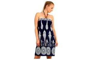 Dámské plážové šaty / sukně se zavazováním za krk tmavě modrá
