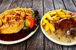 Steak s přílohou a omáčkou podle výběru pro dva