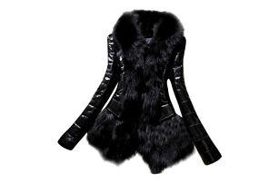 Koženková bunda s kožíškem v černé barvě