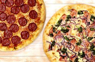 Dvě křupavé pizzy a dva nápoje podle výběru