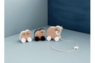 Kids Concept Dřevěná tahací hračka Mammoth Family, černá barva, bílá barva, přírodní barva, dřevo, kov, textil