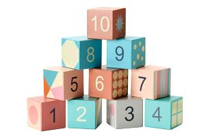 Kids Concept Dětské dřevěné kostky s čísly Edvin, multi barva, dřevo