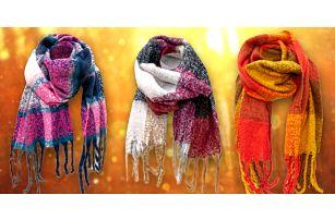 Teplé vlněné maxi šály s třásněmi ve 12 barvách
