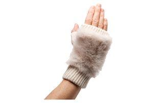 Béžové bezprsté rukavice Winter s kožíškem 7c6975bcdd