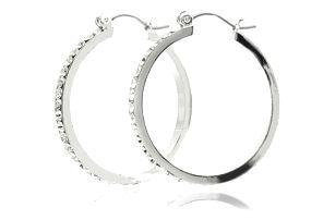 Fashion Icon Náušnice kruhy s krystaly ocelové
